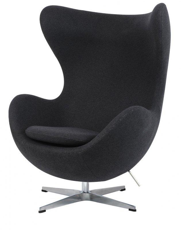 Fotel EGG CLASSIC ciemny szary.5 - wełna, podstawa aluminiowa