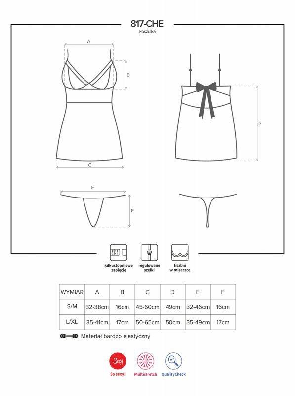 Bielizna-817-CHE-1 koszulka i stringi L/XL