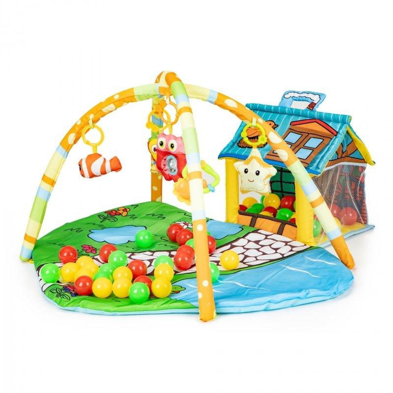 Mata edukacyjna dla niemowląt zabawki, domek 30 piłeczek Ecotoys