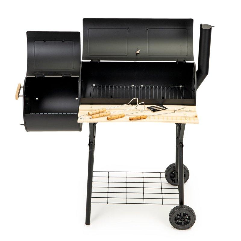 Duży grill ogrodowy - wędzarnia 2w1 termometr + akcesoria do grillowania