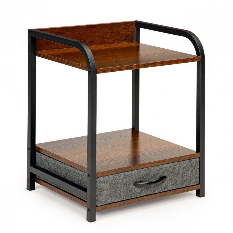 Stolik nocny szafka 2 poziomy półki szuflada loft