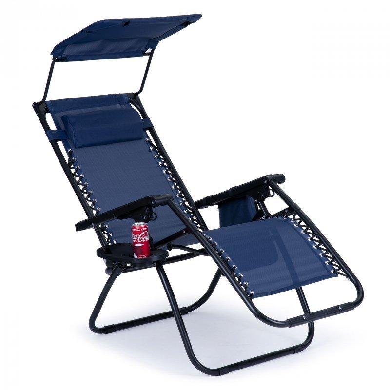Leżak fotel ogrodowy plażowy daszek zero gravity