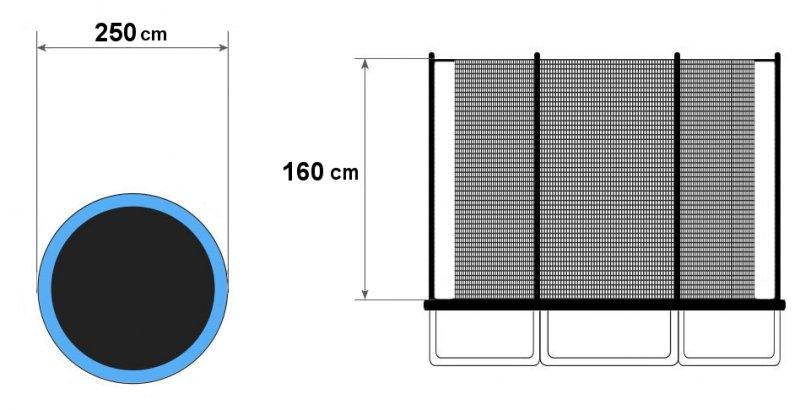 Zewnętrzna siatka do trampoliny 244-250cm 8FT/6 słupków