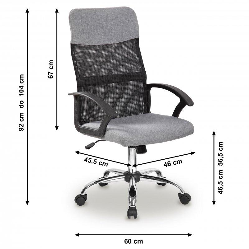 Fotel biurowy obrotowy oparcie siateczkowe szary