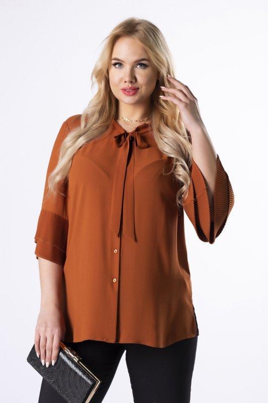 szyfonowa koszula z wiązaniem przy szyi i plisowanymi mankietami