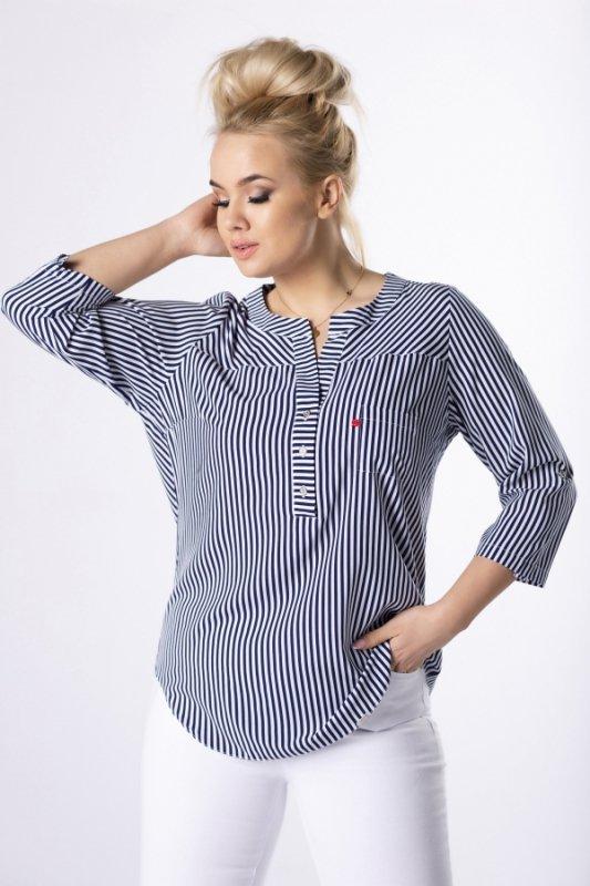 wzorzysta bluzka o koszulowym kroju