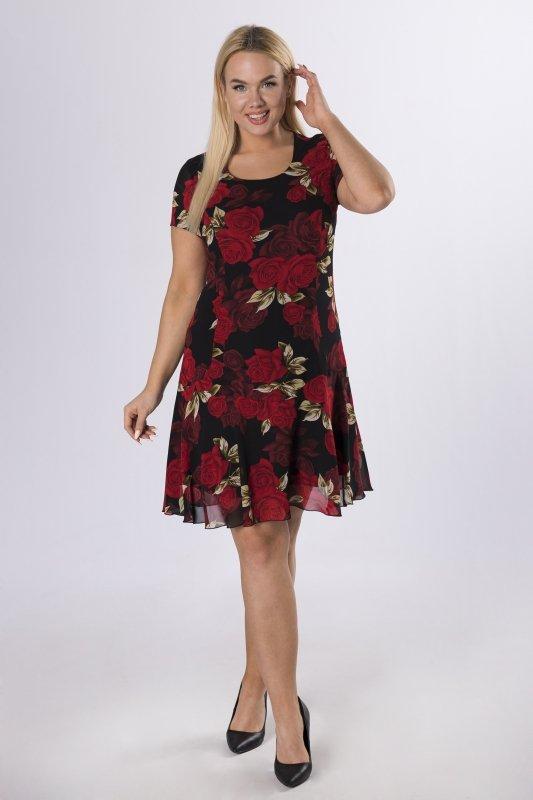sukienka taliowana z falbaną