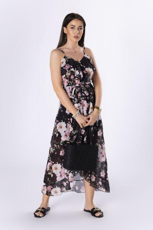szyfonowa sukienka na ramiączkach