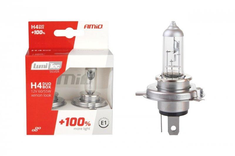 01402 Zestaw żarówek halogenowych H4 12V 60/55W LumiTec Silver +100% Duo Box