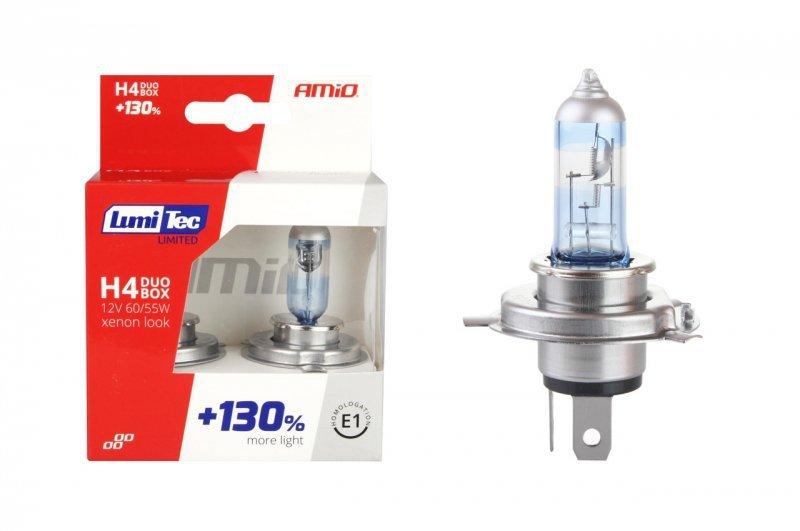 01405 Zestaw żarówek halogenowych H4 12V 60/55W LumiTec Limited +130% Duo Box