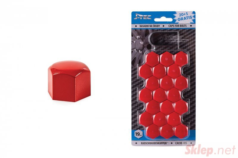 Nasadki na śruby 19 mm czerwone