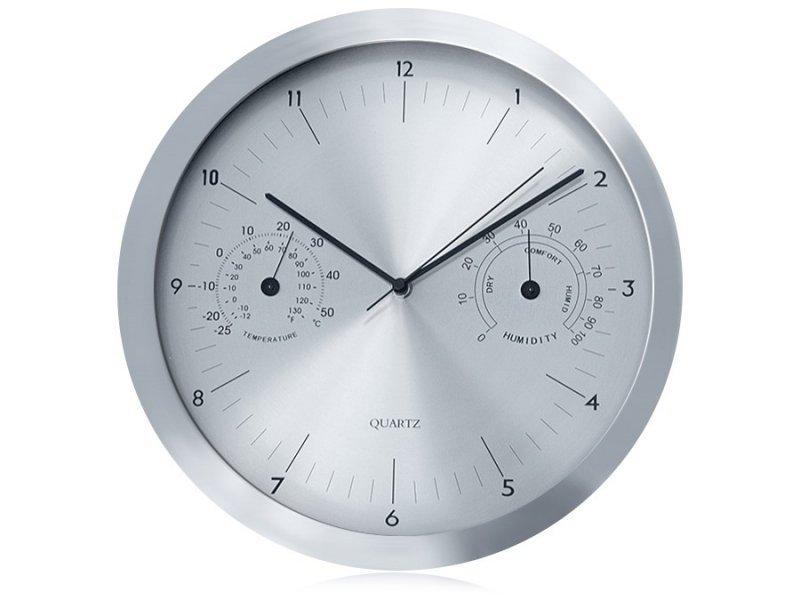 Zegar ścienny srebrny 14'' z termometrem i higrometrem  CE30S