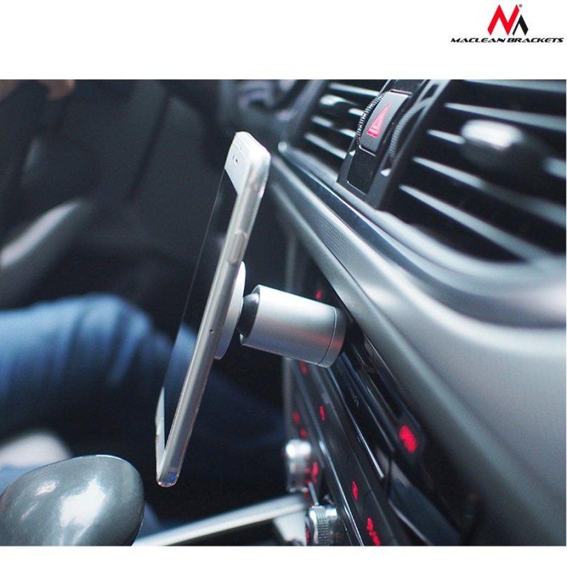 Uchwyt magnetyczny okrągły do montowania w slocie CD Maclean Comfort Series  MC-744 - aluminium