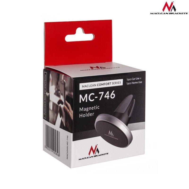 Uchwyt magnetyczny okrągły do domu i samochodu Maclean Comfort Series MC-746 - aluminium