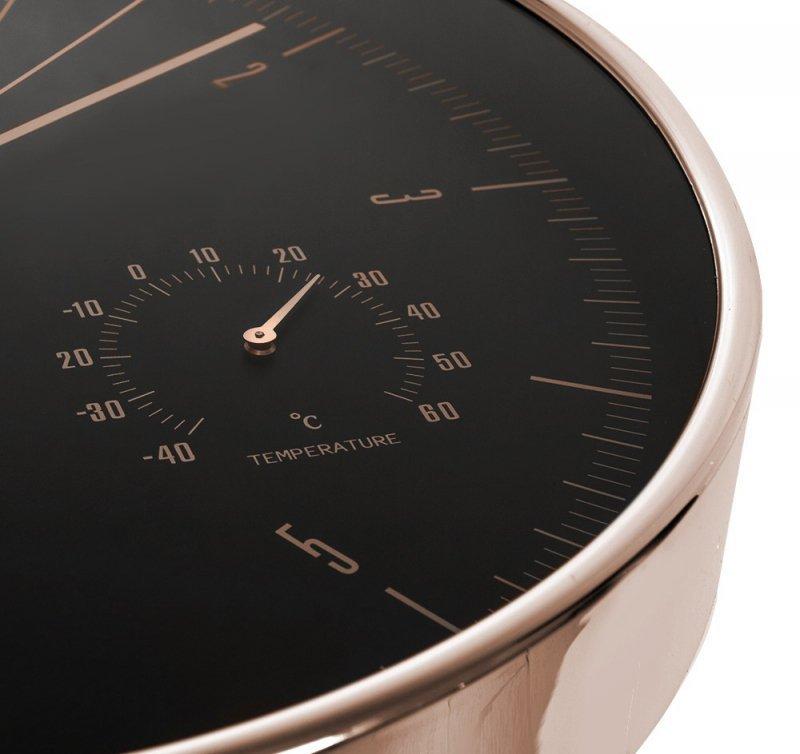 Zegar ścienny złoty 12'' 30cm z termometrem i higrometrem  CE70 G