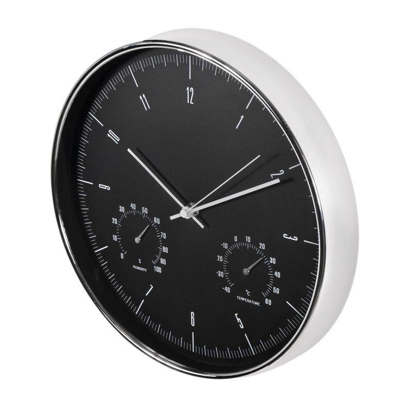 Zegar ścienny srebrny 12'' 30cm z termometrem i higrometrem  CE60 S