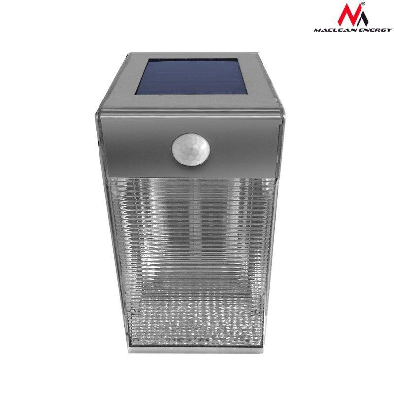 Lampa solarna ścienna 4 SMD Maclean Energy z czujnikiem ruchu MCE167 inox