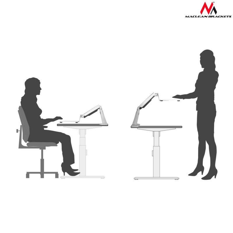 """Uchwyt biurkowy laptopa Maclean 11""""-15,6"""" 8kg MC-767 do pracy stojąco siedzącej"""