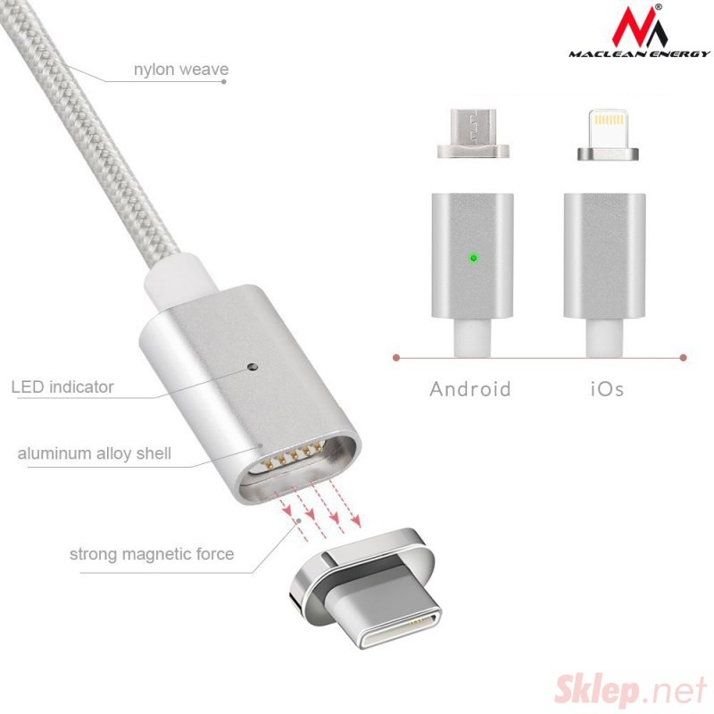Kabel USB Type-C magnetyczny silver Maclean Energy MCE178 - Quick & Fast Charge