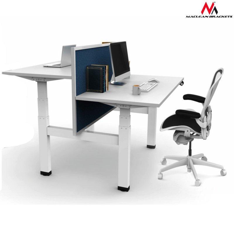 Biurko elektryczne  Maclean  podwójne regulacja wysokości , max wys 128cm 100 kg - bez blatu do pracy stojąco  siedzącej (2częśc