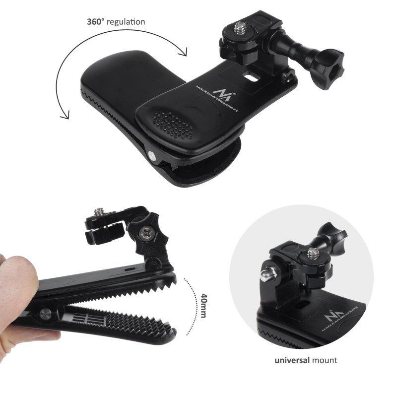 Uniwersalny klips, mocowanie do kamer GoPro, Xiaomi, Ekken, SJCam i innych Maclean MC-820