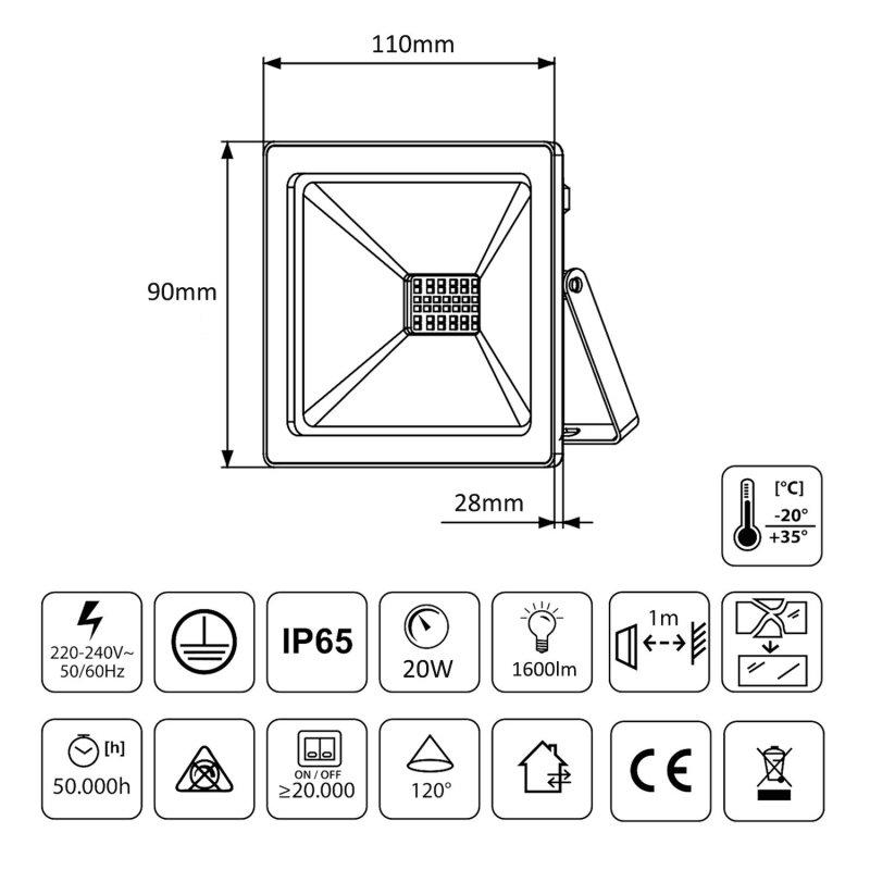 Naświetlacz LED slim 20W, 1600lm Warm White (3000K) Maclean Energy  MCE520 WW, IP65, PREMIUM