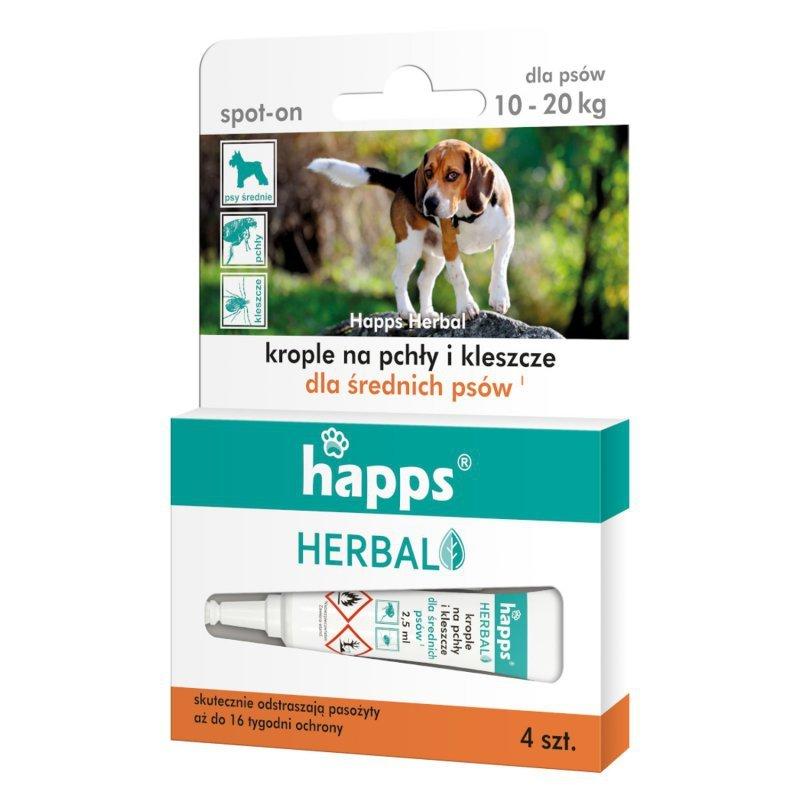 Krople na pchły i kleszcze dla średnich psów Happs Herbal