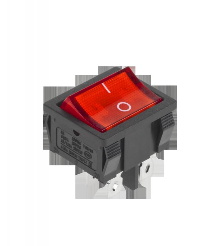 Złącze przełącznik prost.szer.4 pin poświetlany 230V czerwony