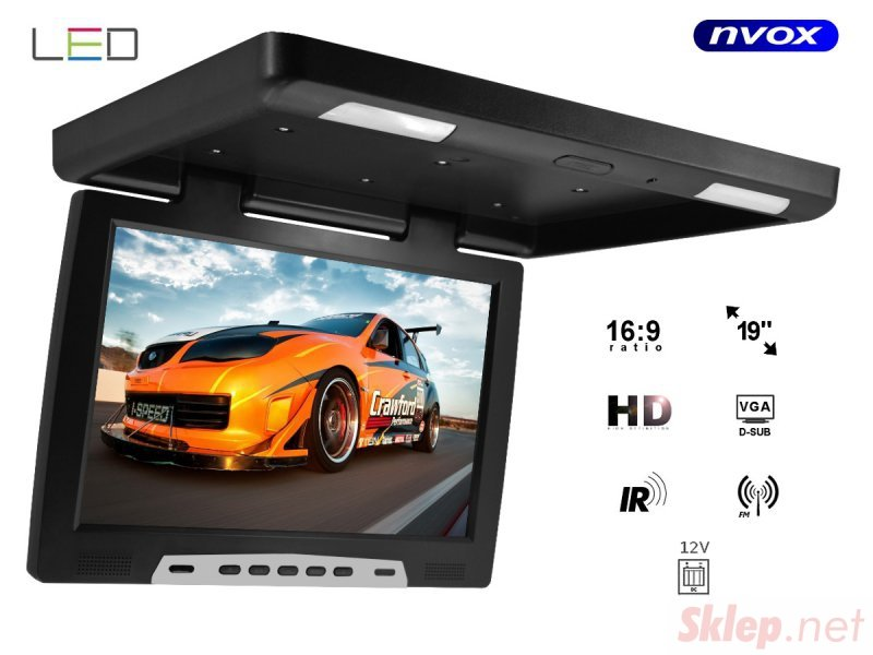 Monitor podwieszany podsufitowy LCD 19cali cali LED FM IR VGA... (NVOX RF1908 IR FM VGA)