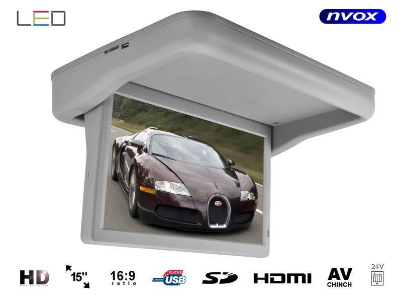 Monitor podwieszany podsufitowy automatycznie opuszczany LED HD 15cali HDMI USB SD Video-IN 24V.