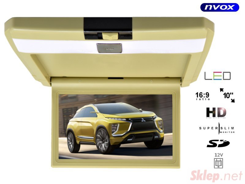 Monitor samochodowy podwieszany podsufitowy LCD 10cali cali AV SD 12V... (NVOX VRF1015 BE)