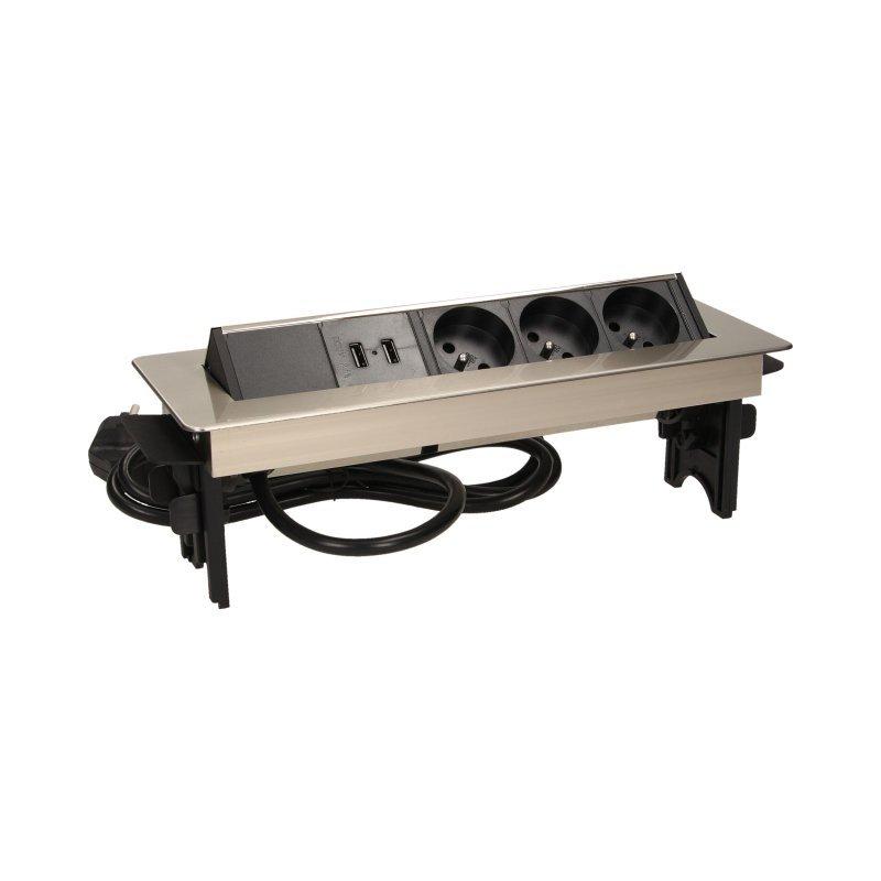 Gniazdo meblowe wpuszczane w blat w niklowanej obudowie z łądowarką USB i przewodem 1,8m, 3x2P+Z, 2xUSB
