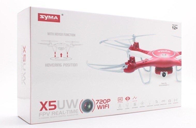 Syma X5UW (kamera WiFi FPV 1MP, 2.4GHz, zawis, zasięg do 70m, planowanie trasy, 32cm) - Czerwony
