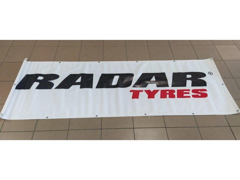 Baner RADAR biały z czarno-czerwonym logo rozmiar 236 cm x 80 cm