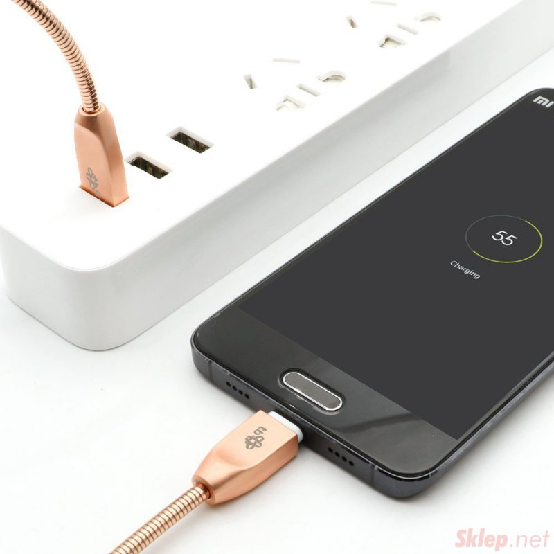Kabel USB-Micro USB 1m metalowy miedziany