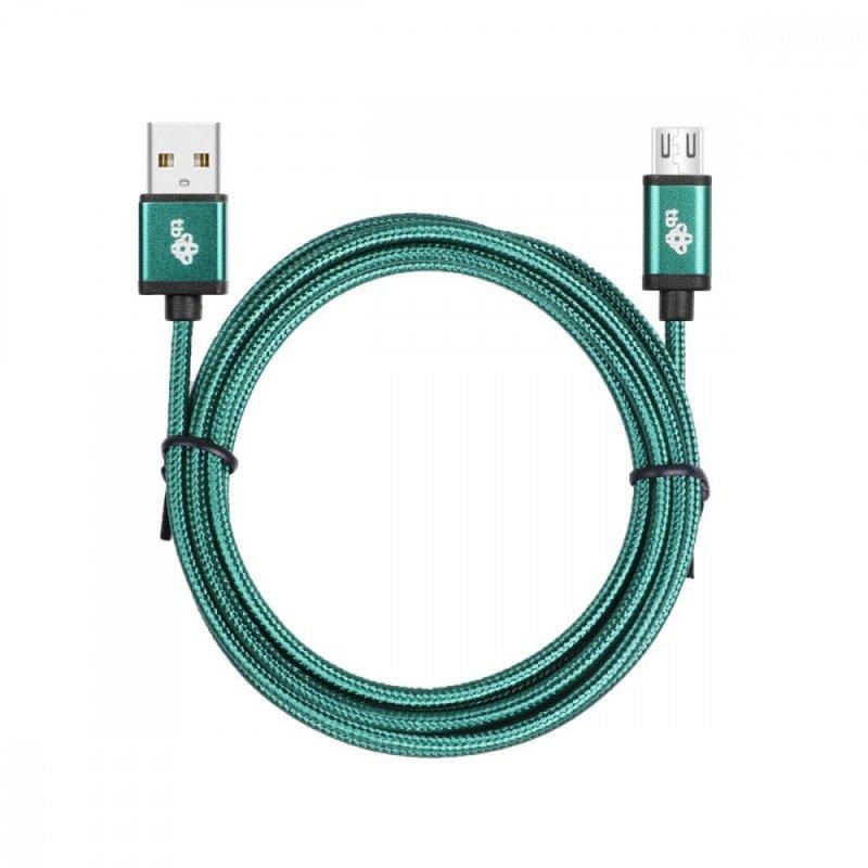 Kabel USB-Micro USB 1.5 m zielony sznurek