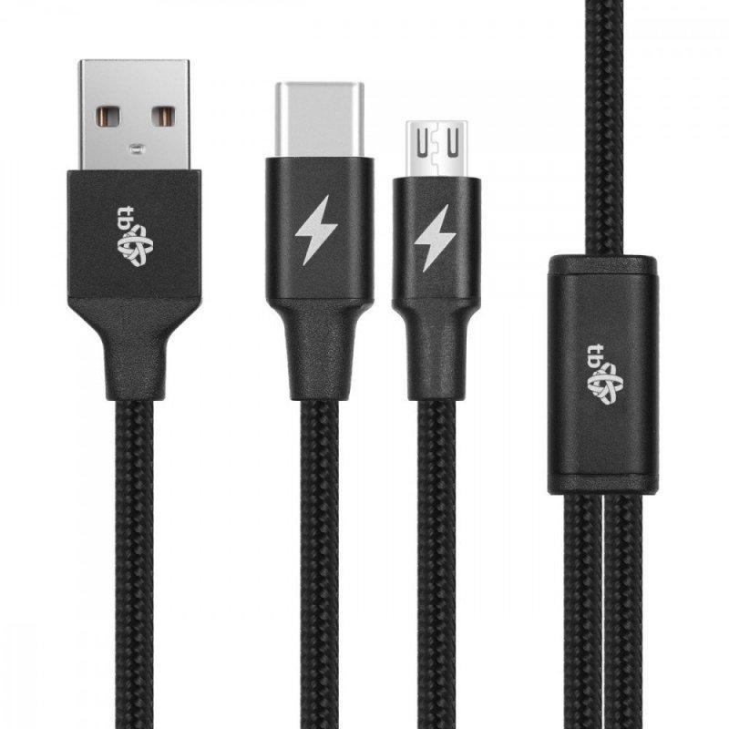 Kabel USB 2w1 czarny