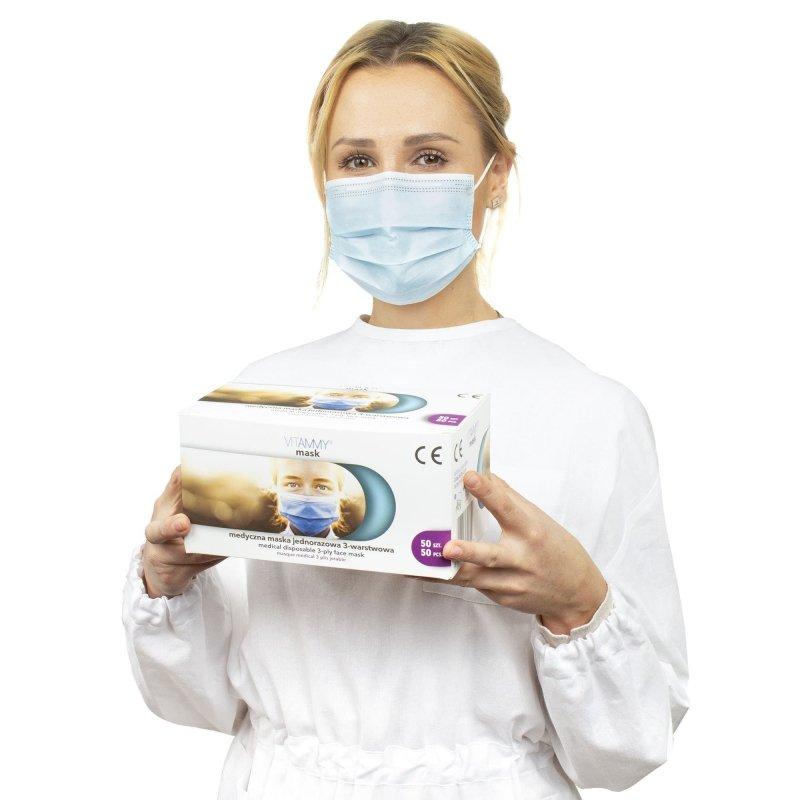 VITAMMY mask R maski chirurgiczne 10x5-pack Medyczna maska jednorazowa 3-warstwowa na gumki, chirurgiczna TYP IIR EN14683