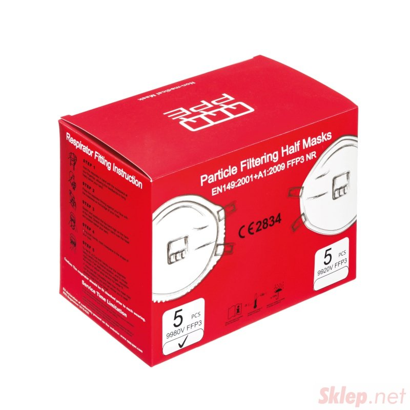 Półmaska FFP3 z zaworem NR QQQ PPE 9980V /opak 5 szt Półmaska filtrująca FFP3 z zaworem NR 9980V