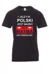 Koszulka z nadrukiem czarna - język polski jest ważny, ale matma jest ważniejsza
