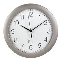 Srebrno-biały zegar ścienny dcf pg-300, srebrny