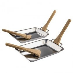 Minipatelnie do grilla ze stali szlachetnej, bambusowe skrobaki