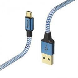 Kabel ładujący/data Reflected - odblaskowy micro usb , 1.5m, niebieski