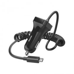 Car charger, usb type-c, 2.4 a, bk