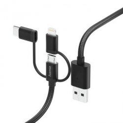 Adapter 3w1 micro usb, typ-c/lightning 1,5m, czarny