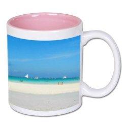Biały foto kubek z jasnoróżowym środkiem + twoje zdjęcie