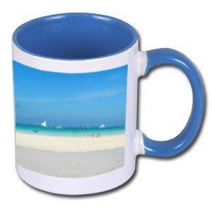 Biały foto kubek z niebieskim środkiem i uchem + twoje zdjęcie