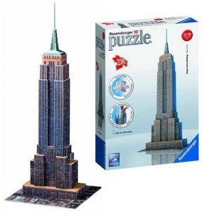 Ravensburger, Empire State Building, Puzzle 3D 216 elementów + gratis