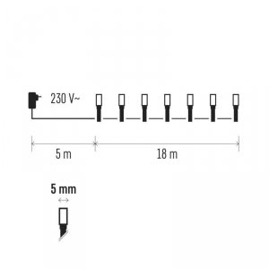 Lampki choinkowe 18m biała zimna 180szt ZY0804T