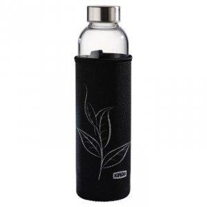 Szklana butelka z sitkiem i neoprenowym pokrowcem 500 ml, czarna - XavaX